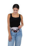 Sleepyville Critters - Pug Fanny Pack in Vinyl, waist pack style on model