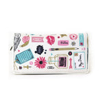 All About Writing Bi Fold Zip Around Wallet in Vinyl Material frontal view