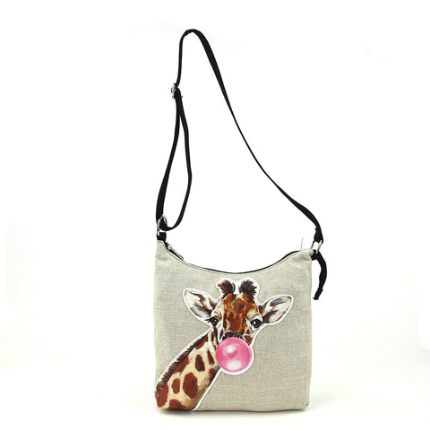 Bubble Gum Giraffe Messenger in Canvas frontal view