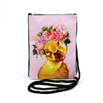 Duck in Floral Crown Crossbody Pouch in Polyester frontal view