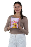 Duck in Floral Crown Crossbody Pouch in Polyester, front view, handheld by model