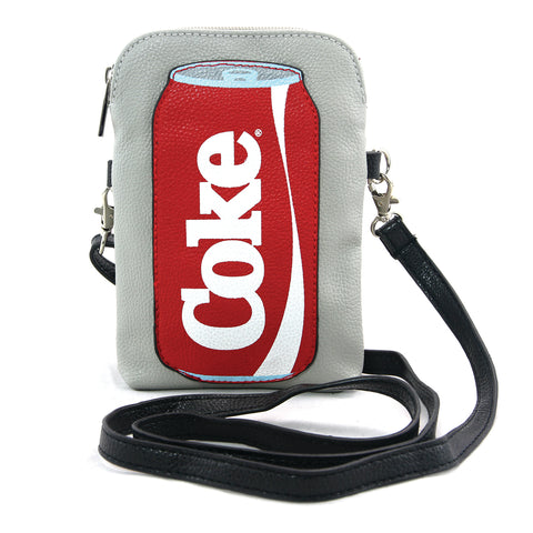 grey coca cola can cross body bag front view