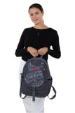 Officially Licensed Coca-Cola Classic Nylon Backpack, front view, handheld by model