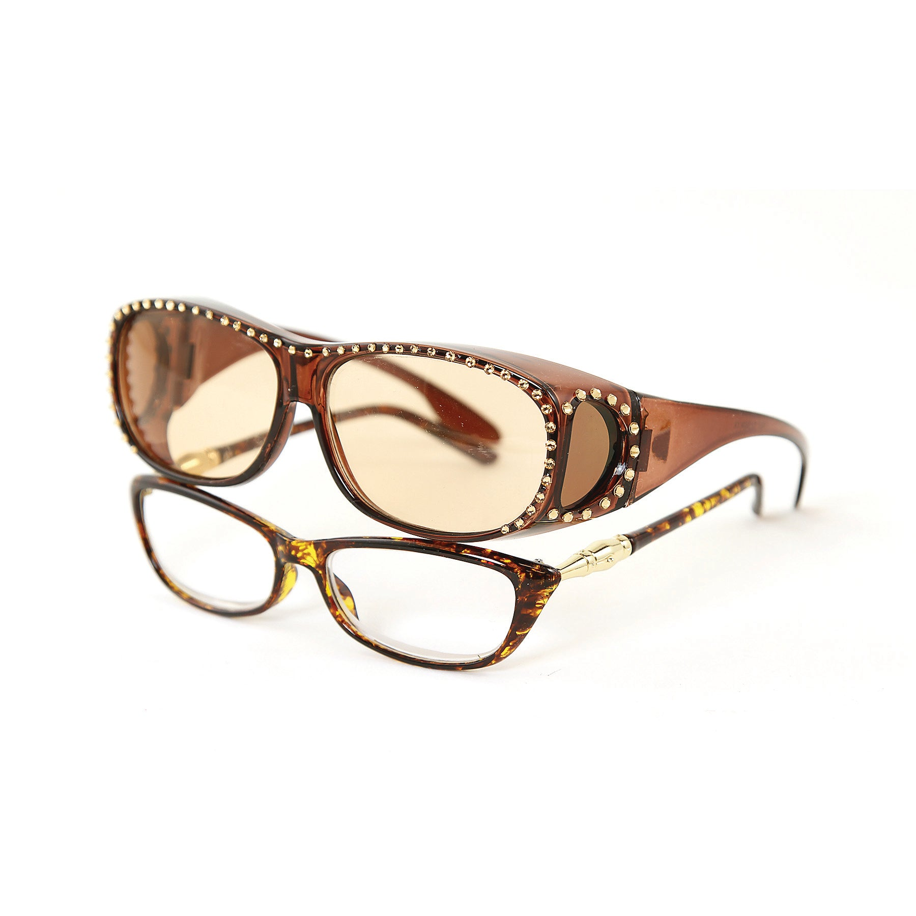 Sunglasses Made with Swarovski Elements, brown color, side view, 2 piece view