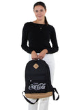 Officially Licensed Coca-Cola Script Rucksack, front view, handheld by model