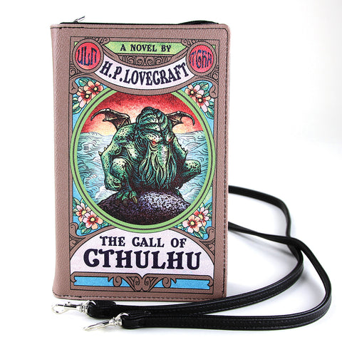 The Call Of Cthulhu Book Clutch Bag In Vinyl, front view