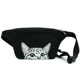 Peeking Cat Fanny in Polyester Material front view