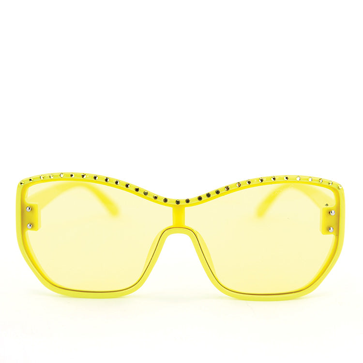 Sunglasses Made with Swarovski Elements, yellow color, front view