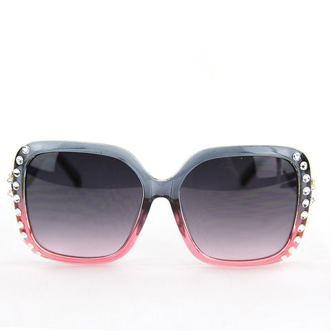 Sunglasses Made with Swarovski Elements, pink color, front view