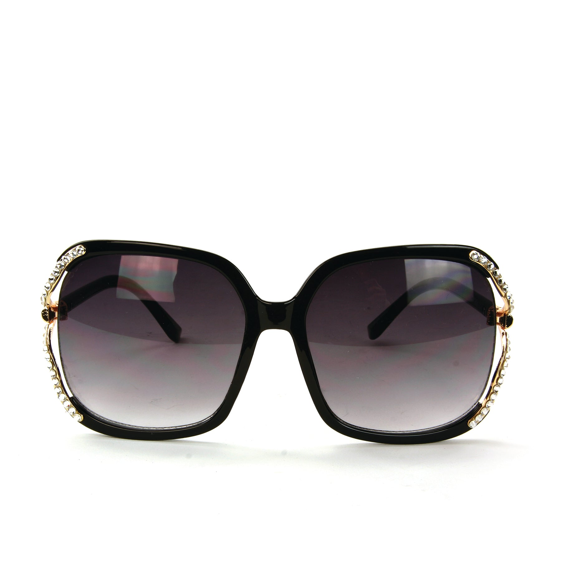 Sunglasses Made with Swarovski Elements, black color, front view