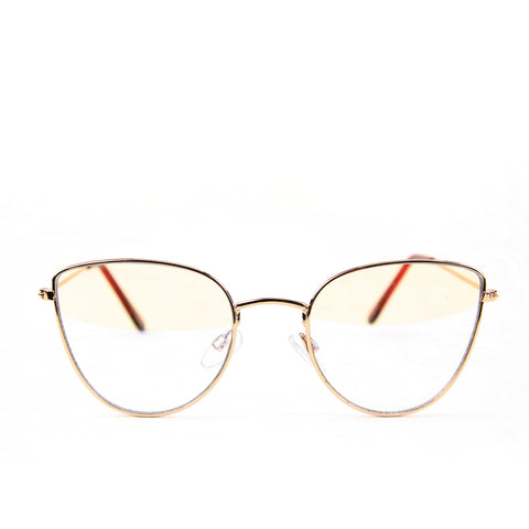 Blue Light Blocking Glasses, gold color, front view