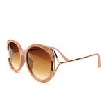 Sunglasses Made with Swarovski Elements, beige color, side view