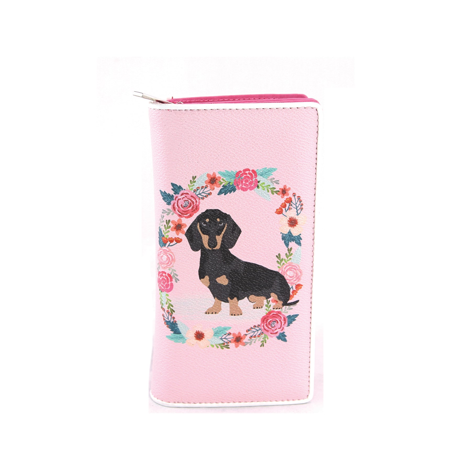 Floral Dachshund Wallet in Vinyl Material closed front view