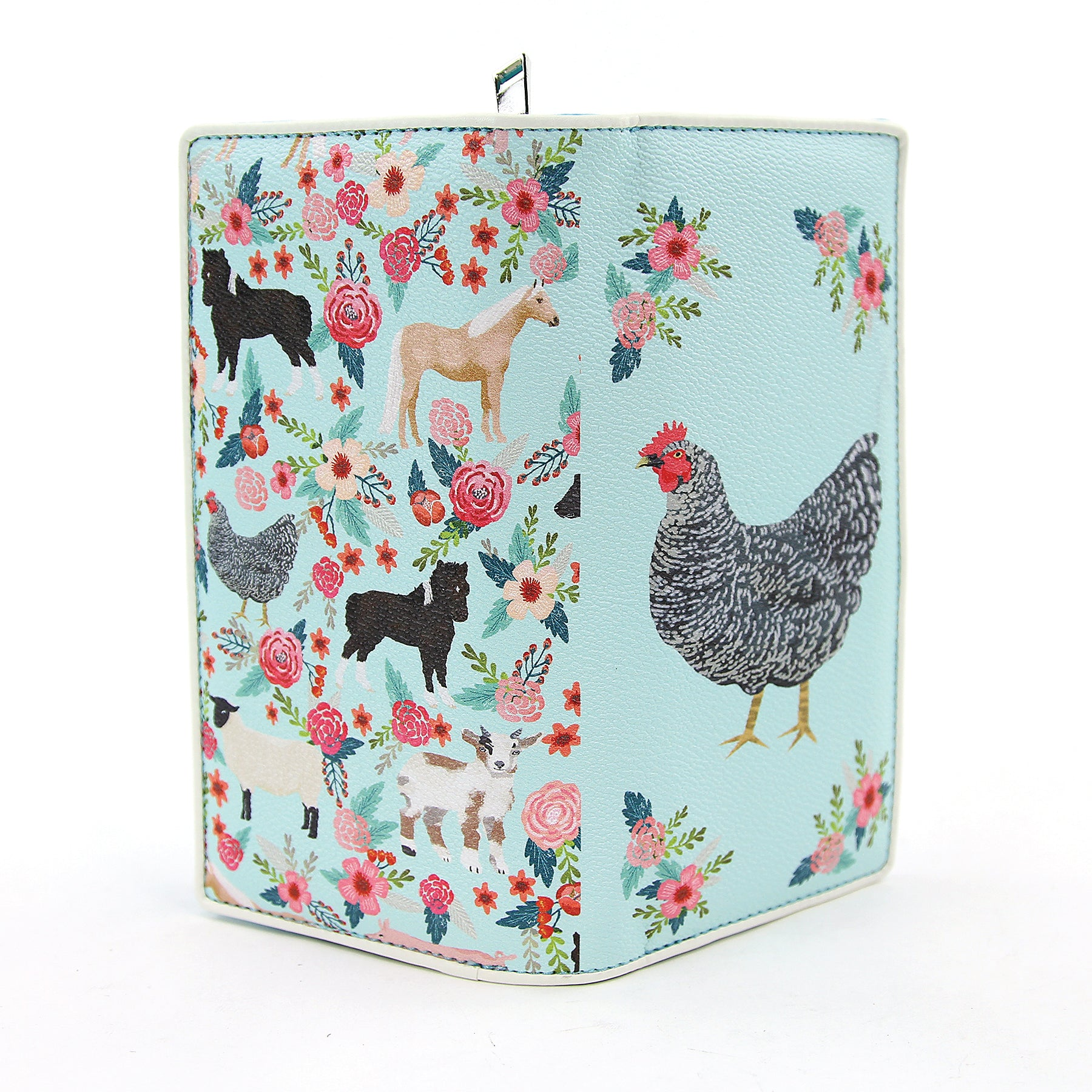 Chicken With Floral Wreath Wallet In Vinyl front open view