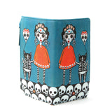 Sugar Skull Unibrow Girl with Balloon Cat Wallet in Vinyl Material front open view