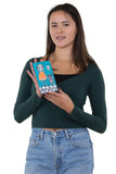 Sugar Skull Unibrow Girl with Balloon Cat Wallet in Vinyl Material, handheld by model