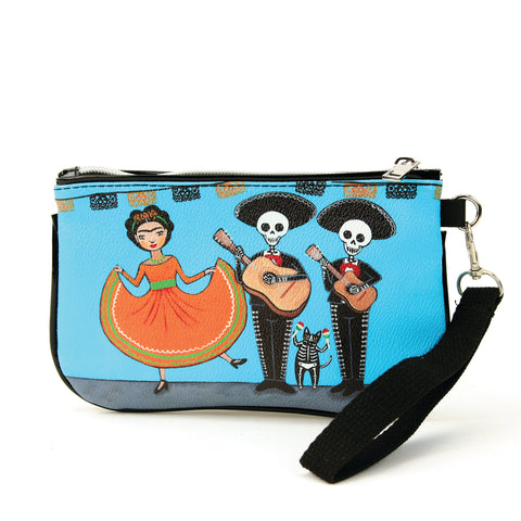 Sleepyville Critters - Dancing Girl with Skeleton Mariachi Band Wristlet, front view