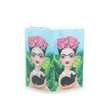 Unibrow Girl with Black Cat Wallet in Vinyl Material front open view