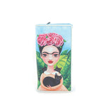 Unibrow Girl with Black Cat Wallet in Vinyl Material front view