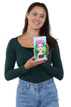 Unibrow Girl with Black Cat Wallet in Vinyl Material, handheld by model