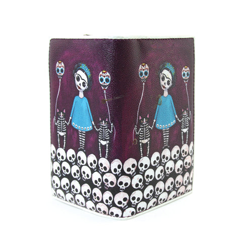 Skeleton unibrow girl with flying skeleton cats wallet in Vinyl Material open front view