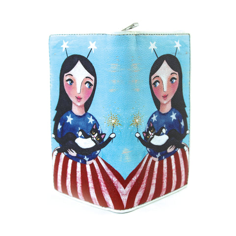 Celebrating America Unibrow Girl and Black Cat Wallet in Vinyl Material open front view