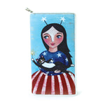 Celebrating America Unibrow Girl and Black Cat Wallet in Vinyl Material close front view