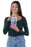 Celebrating America Unibrow Girl and Black Cat Wallet in Vinyl Material, handheld by model