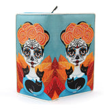 Sugar Skull Girl Wallet in Vinyl Material open front view