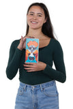 Sugar Skull Unibrow Girl Wallet in Vinyl Material, handheld by model