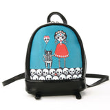 Orange Dress Sugar Skull Unibrow Girl with Cat Balloon Mini Backpack in Vinyl Material front view
