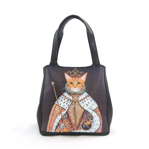 Queen Cat Tote Bag in Vinyl Material front view