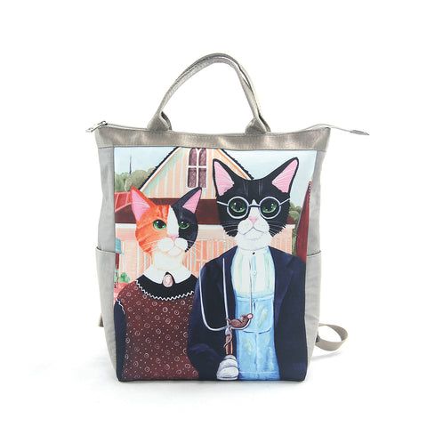 Kitty Gothic Convertible Backpack in Nylon Material front view