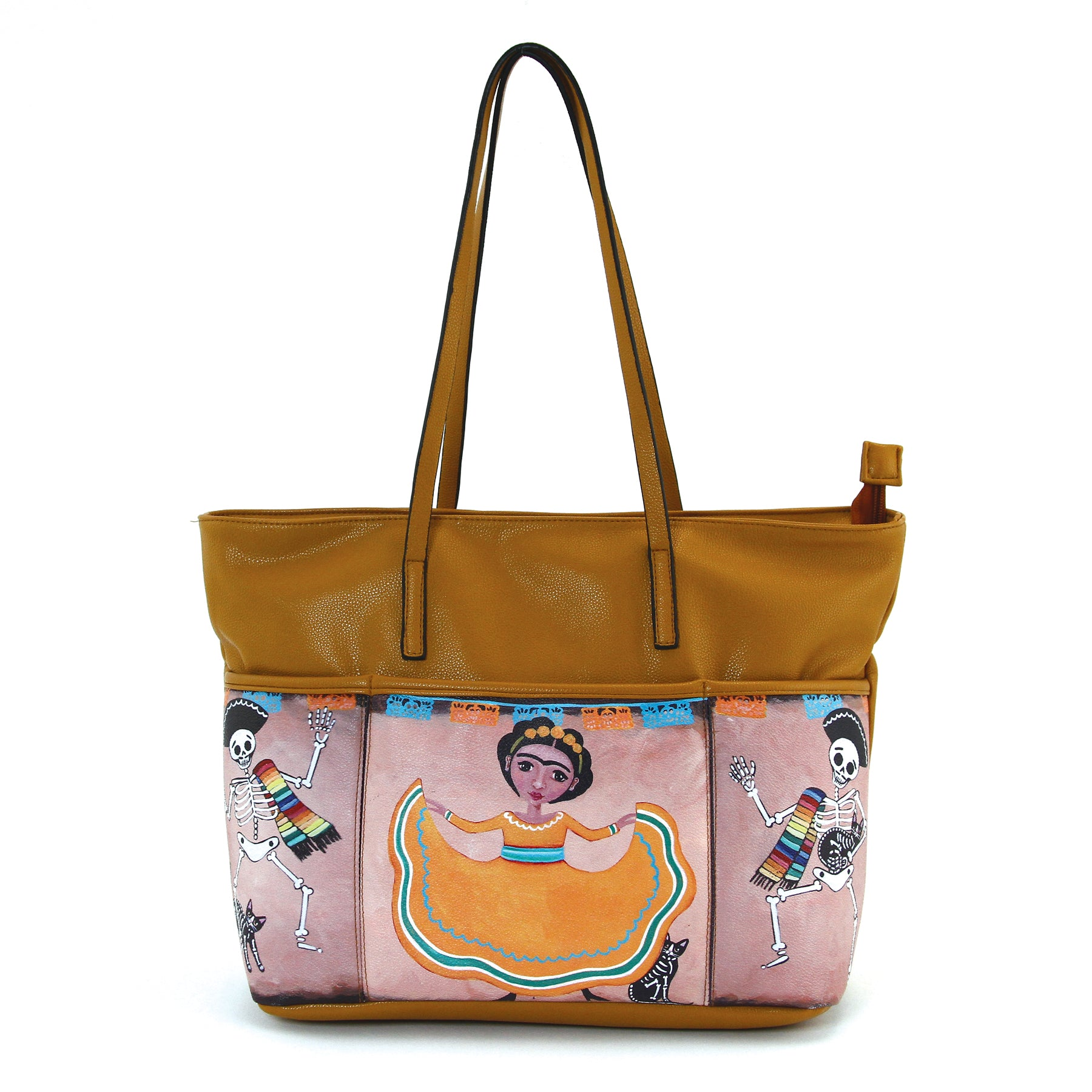 Three Pockets Unibrow Girl and Mariachi Skeleton Tote Bag in Vinyl Material front view