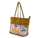 Three Pockets Unibrow Girl and Mariachi Skeleton Tote Bag in Vinyl Material side view
