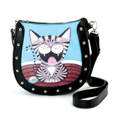 Happy Cat Shoulder Bag in Vinyl Material front view