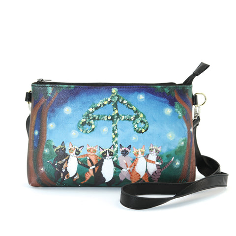 Dancing Cats in Forest Clutch Bag in Vinyl Material front view