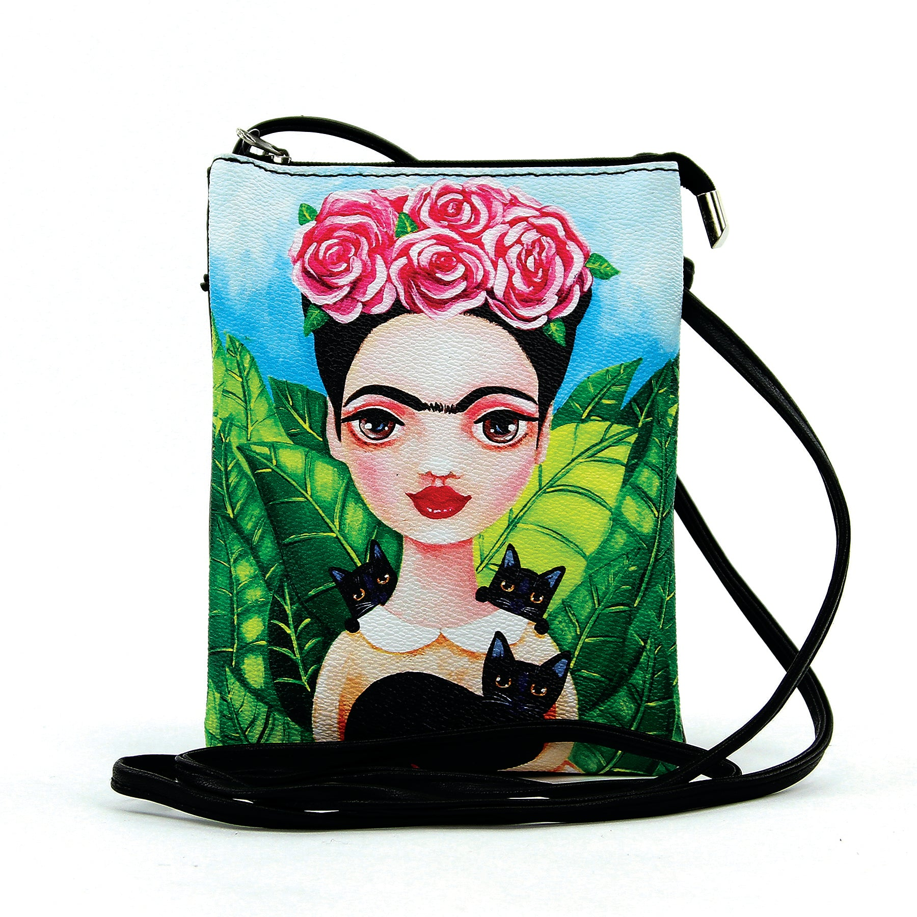 Unibrow Girl with Black Cats Crossbody Bag in Vinyl Material front view