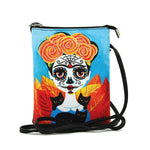 Sugar Skull Unibrow Girl Crossbody Bag in Vinyl Material front view