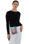 Sugar Skull Unibrow Girl Crossbody Bag in Vinyl Material, crossbody style on model