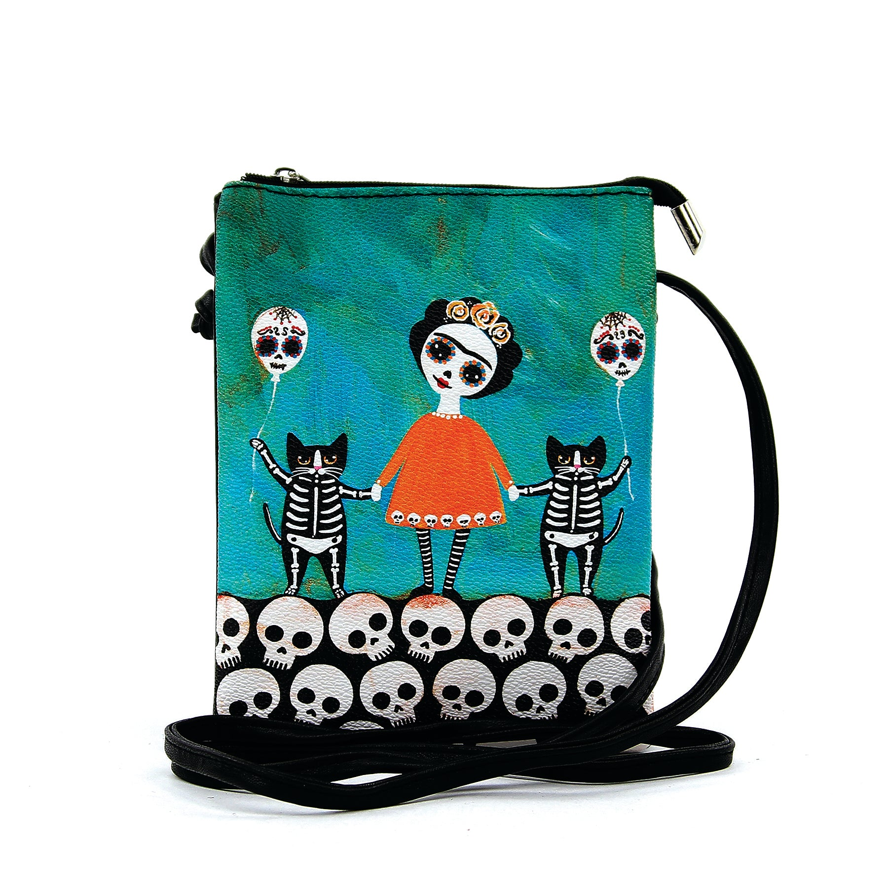Orange Dress Skeleton Girl with Cats Crossbody Bag  in Vinyl Material front view