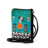 Orange Dress Skeleton Girl with Cats Crossbody Bag  in Vinyl Material side view