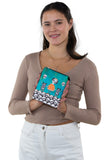 Orange Dress Skeleton Girl with Cats Crossbody Bag  in Vinyl Material,, handheld by model