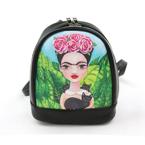 Unibrow Girl with Black Cats Mini Backpack in Vinyl Material front view