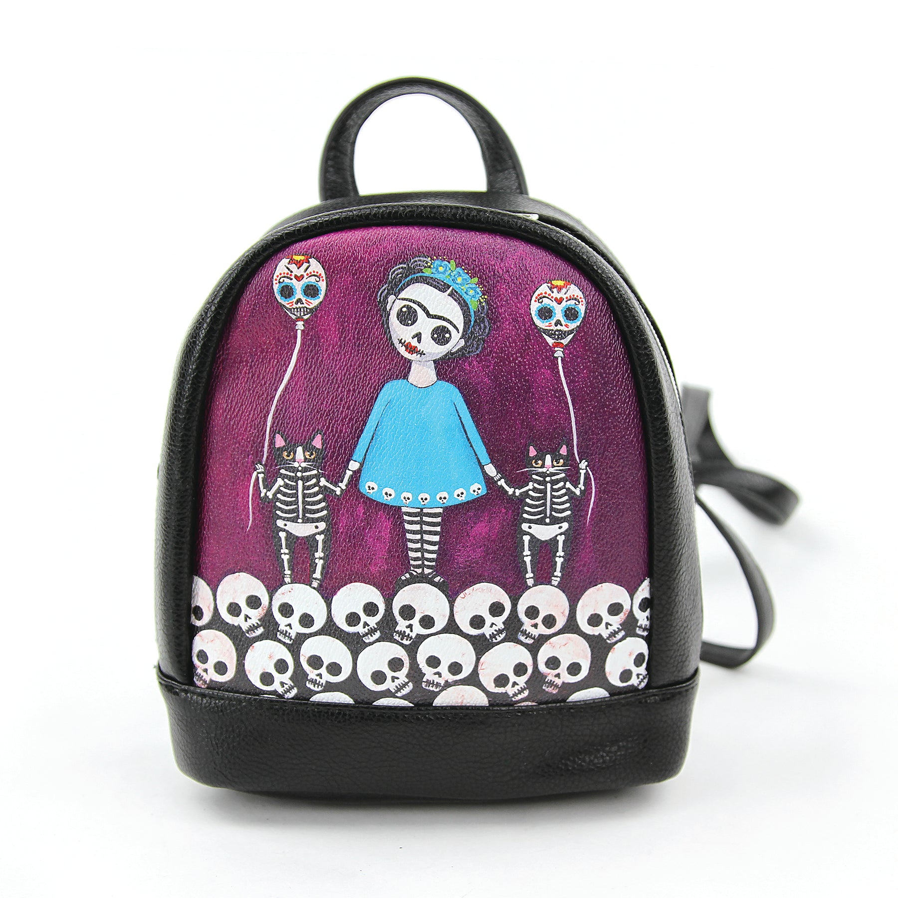 Skeleton girl with balloon cats mini backpack front view