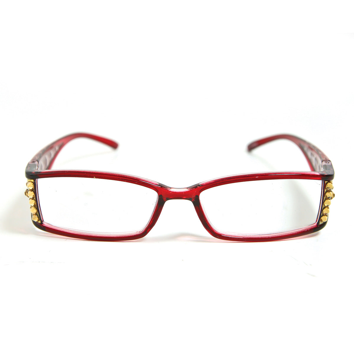 Reading Glasses Made With Swarovski Elements, red color, front view