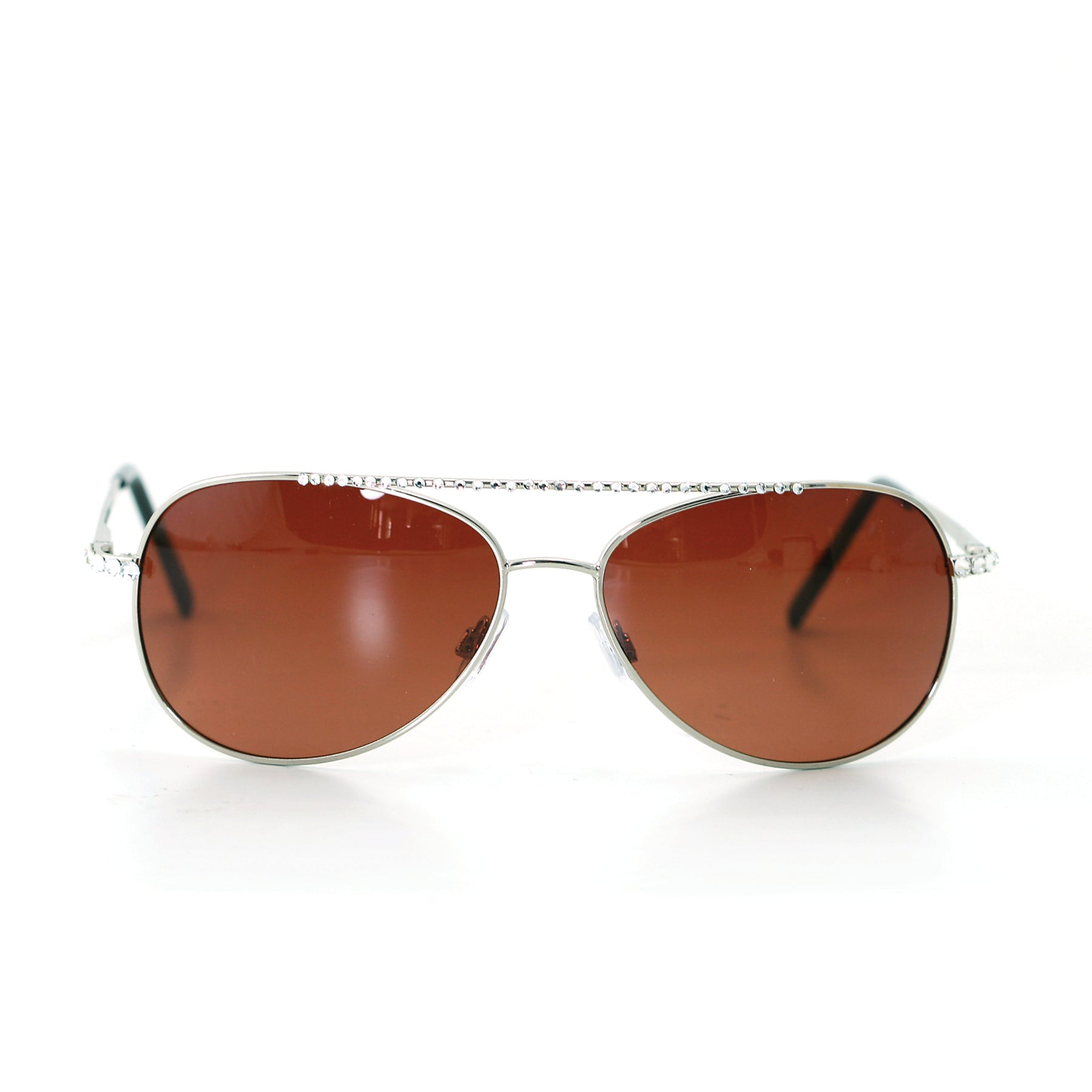Sunglasses Made with Swarovski Elements, silver color, front view
