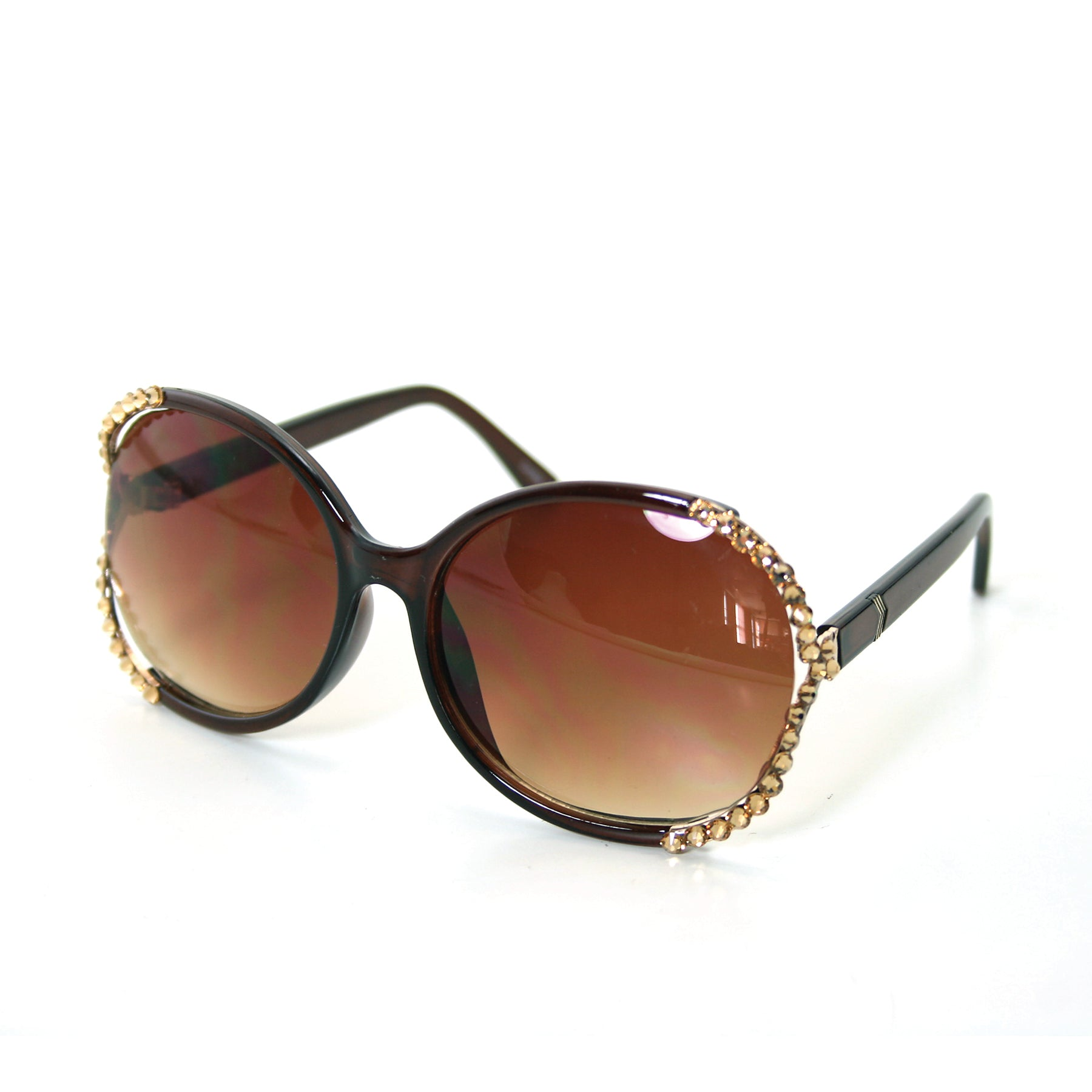 Sunglasses Made with Swarovski Elements, brown color, side view