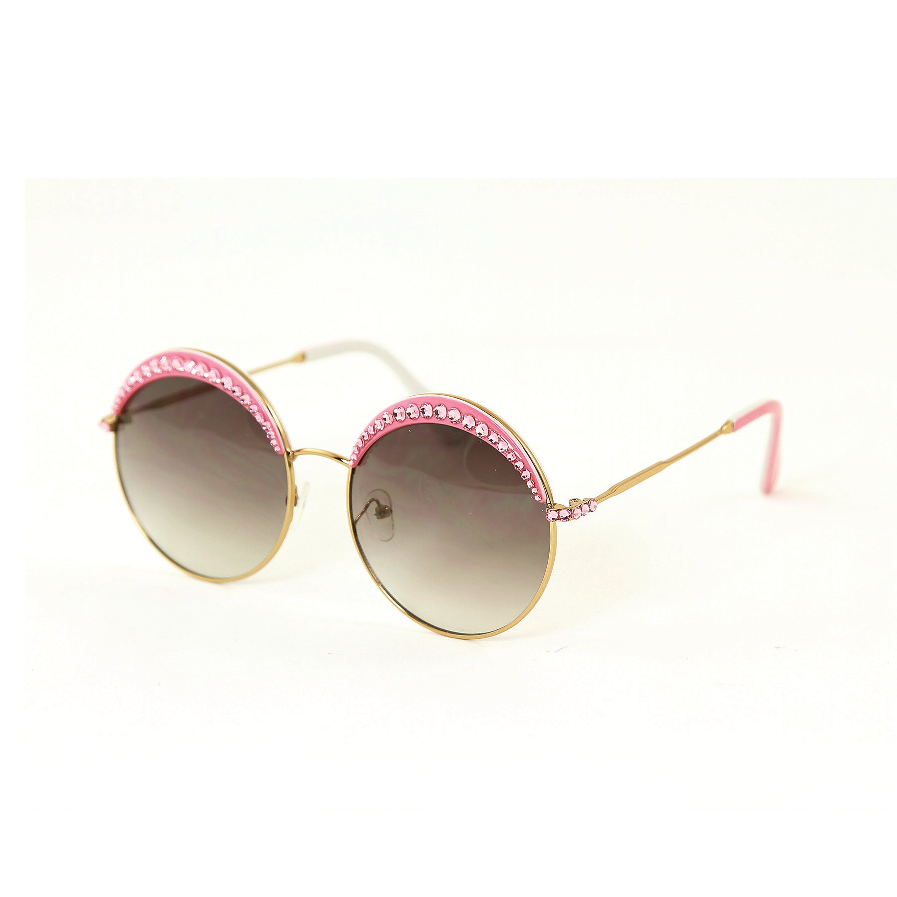 Sunglasses Made with Swarovski Elements, pink color, side view