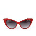 Sunglasses Made with Swarovski Elements, red color, front view